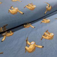 Sloth Sleepy Sloths on Denim Blue Stretch Cotton Jersey Knit Fabric
