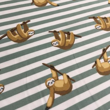Sloth Sleepy Sloths on Sage Green Stripes Stretch Cotton Jersey Knit Fabric