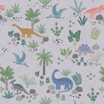 Land Dinos on Grey Dinosaurs Jurassic Dino Dinosaur Kimmeridge Bay Cotton Fabric