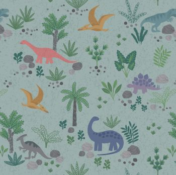 Land Dinos on Grey Green Aqua Dinosaurs Jurassic Dino Dinosaur Kimmeridge Bay Cotton Fabric