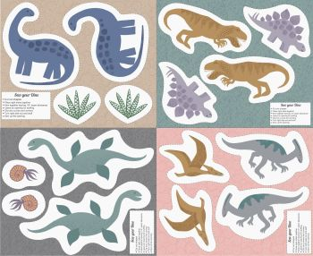 Cut Out Dinos DIY Softie Toy Dinosaurs Panel Kimmeridge Bay Cotton Fabric