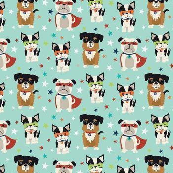 Super Dog Novelty Blue Pow Comic Book Superhero Dogs Comics Cotton Fabric