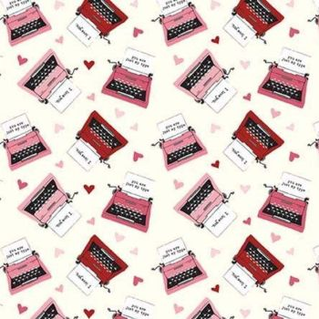 Hello Sweetheart Typewriter Cream Valentines Love Notes Hearts Cotton Fabric