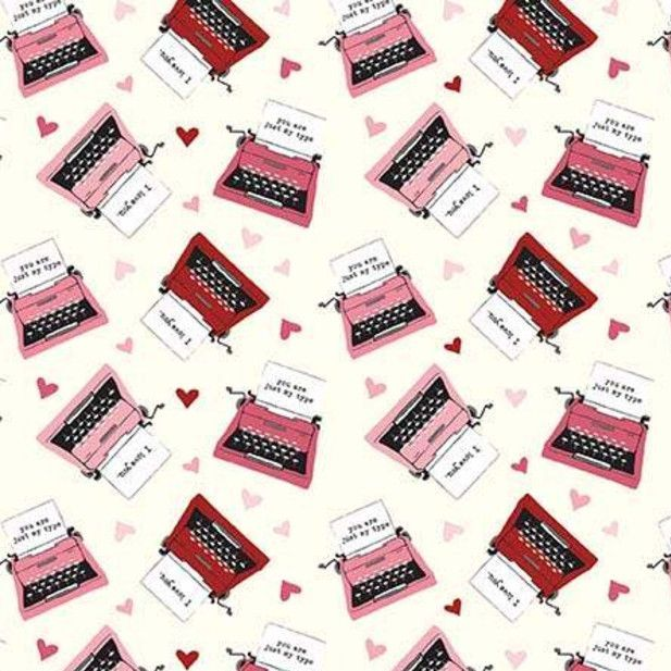 Hello Sweetheart Typewriter Cream Valentines Love Notes Hearts Cotton Fabri