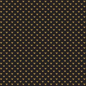 Hello Sweetheart Mini Hearts Sparkle Gold Metallic Black Valentines Love Heart Cotton Fabric