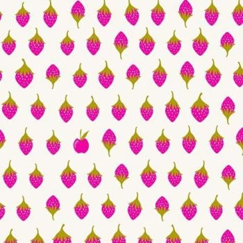 Alison Glass Road Trip Apples Sweet Stawberries Apple Strawberry Pink White Cotton Fabric