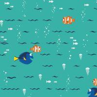 Disney Finding Dory Swimming Turquoise Nemo Marlin Fish Jellyfish Ocean Cotton Fabric