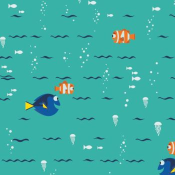 Disney Finding Dory Swimming Turquoise Nemo Marlin Fish Jellyfish Ocean Cotton Fabric