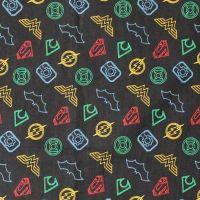 DC Justice League Activated Logo Outline Black Superhero Emblem Cotton Fabric