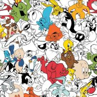 Looney Tunes Crowd Multi Characters Warner Bros Classic Cartoon Cotton Fabric