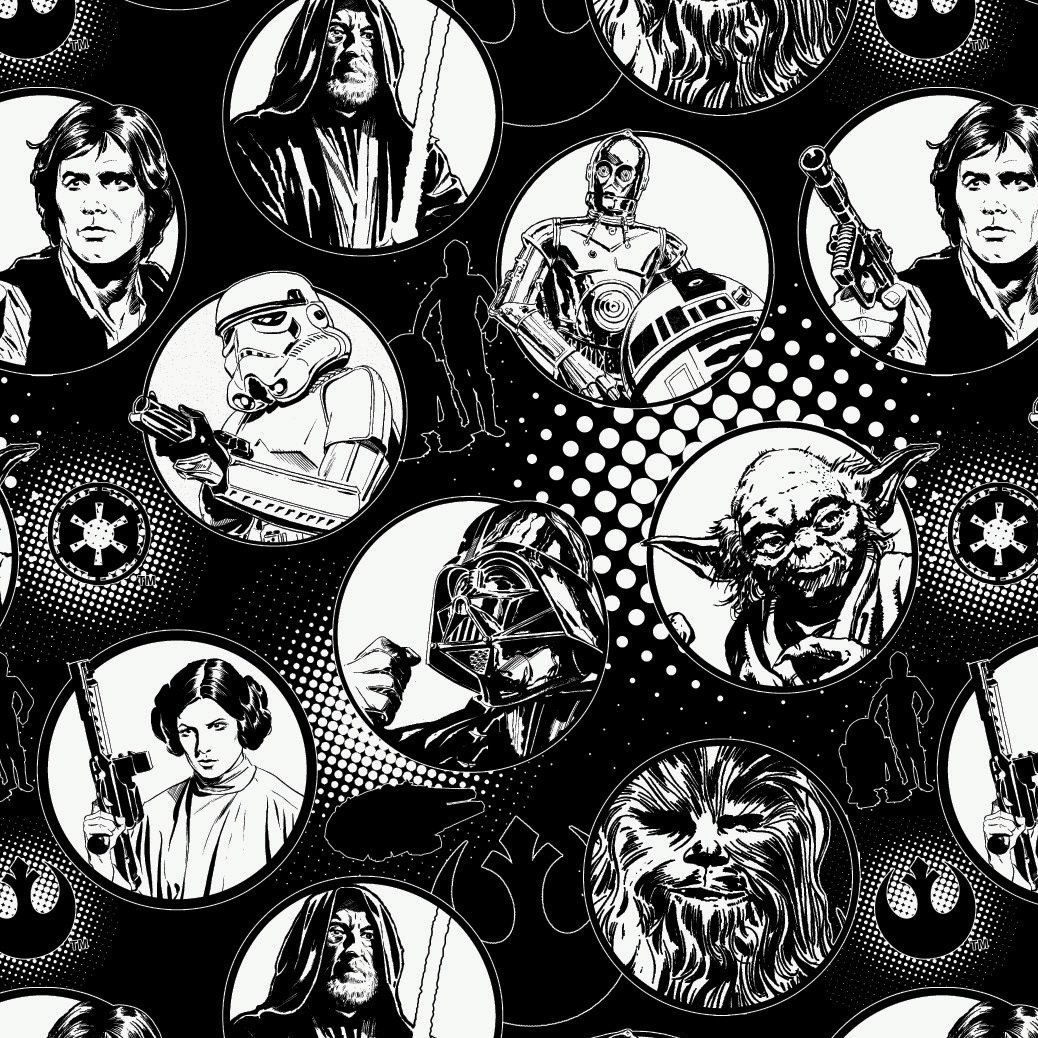 Star Wars Immortals Characters in Circles Monochrome Darth Vader Jedi R2-D2