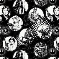 Star Wars Immortals Characters in Circles Monochrome Darth Vader Jedi R2-D2 Chewbacca Han Solo Yoda Cotton Fabric