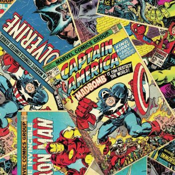 REMNANT 45cm Marvel Superhero Avengers Comic Book Covers Cotton Fabric