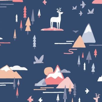 Cold Comfort Mountain Adventure Scenic Trees Bird Stag Deer Clouds Dear Stella Cotton Fabric