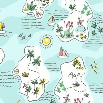 Jetsetter Island Hopping Multi Tropical Islands Map Turtle Travel Adventure Dear Stella Cotton Fabric