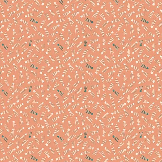 Special Delivery Shooting Stars Star Space Coral Cotton Fabric