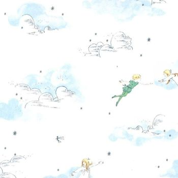 Peter Pan Peter and Wendy Cloud Sky Stars Sarah Jane Stretch Cotton Jersey Knit Fabric