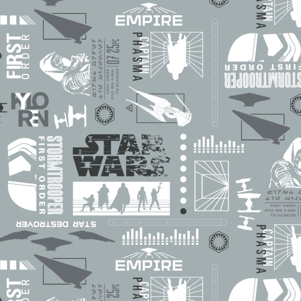 Disney Star Wars Empire Silhouettes in Stone Cotton Fabric