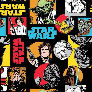 Star Wars Immortals Characters in Circles Colours Darth Vader Jedi R2-D2 Chewbacca Han Solo Yoda Cotton Fabric