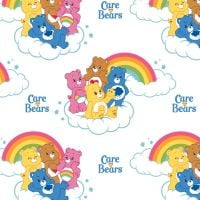 Care Bears Rainbow in White Care Bear Logo Rainbows Cloud Cotton Fabric