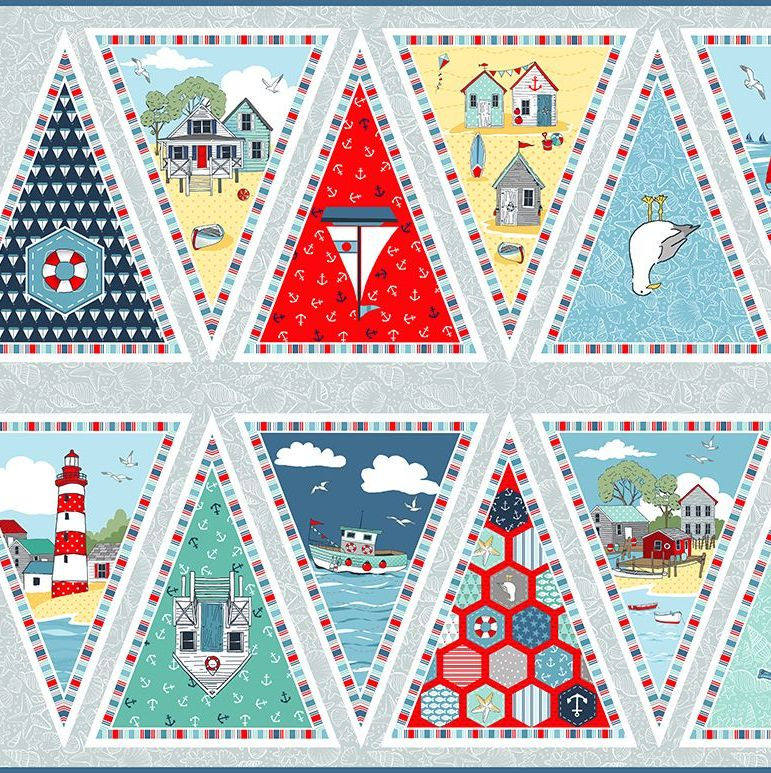 Sea Breeze Nautical Beach Hut Mariner Seaside DIY Bunting Panel Cotton Fabr