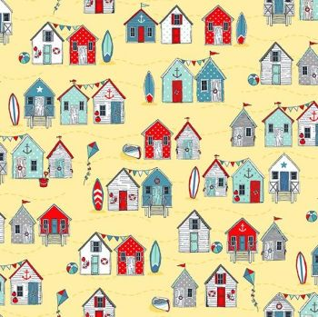 Sea Breeze Beach Huts Yellow Coastal Nautical Seagull Beachhut Beach Hut Surfboard Kite Cotton Fabric