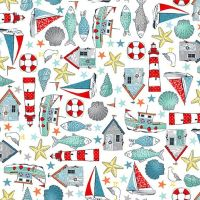 Sea Breeze Icons White Coastal Nautical Lighthouse Shell Fish Starfish Seagull Beach Hut Boat Cotton Fabric
