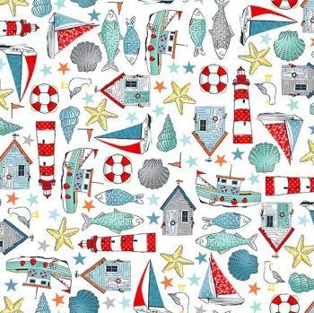 a1bdb78946e Sea Breeze Icons White Coastal Nautical Lighthouse Shell Fish Starfish  Seagull Beach Hut Boat Cotton Fabric