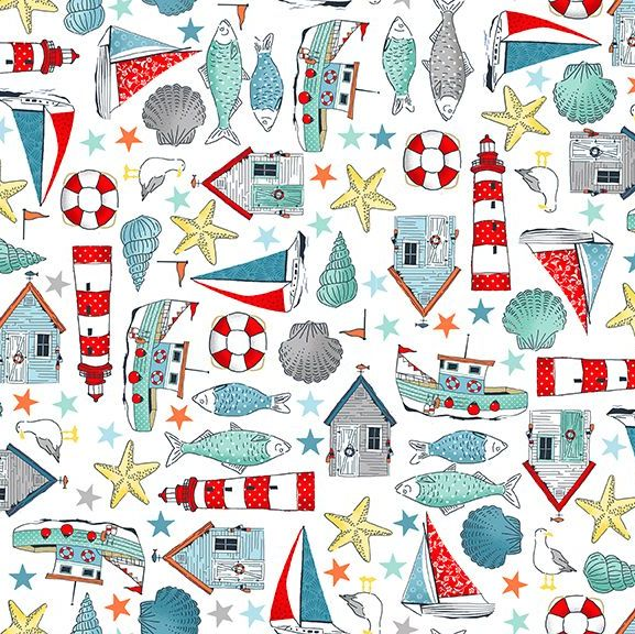 Sea Breeze Icons White Coastal Nautical Lighthouse Shell Fish Starfish Seag