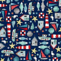 Sea Breeze Icons Navy Blue Coastal Nautical Lighthouse Shell Fish Starfish Seagull Beach Hut Boat Cotton Fabric