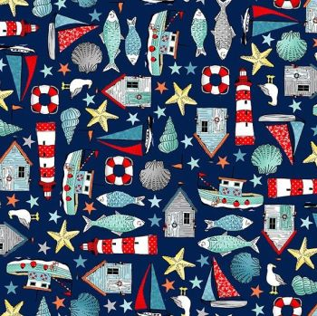 8ec2a742390 Sea Breeze Icons Navy Blue Coastal Nautical Lighthouse Shell Fish Starfish  Seagull Beach Hut Boat Cotton