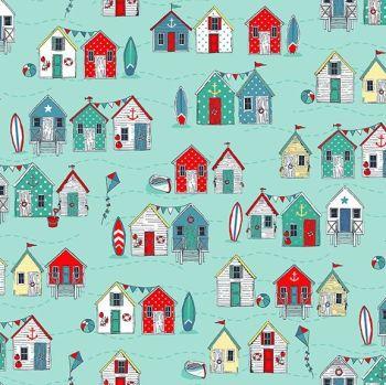 Blue White Green Beach Huts Jersey Fabric Cotton Stretch Knit Nautical Seaside