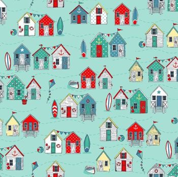 Sea Breeze Beach Huts Turquoise Coastal Nautical Seagull Beachhut Beach Hut Surfboard Kite Cotton Fabric