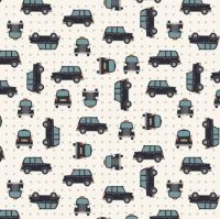 City Nights Black Cab Geometric Metallic Silver Car Taxi Cotton Fabric
