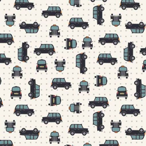 City Nights Black Cab Geometric Metallic Silver Car Taxi Cotton Fabric Cott