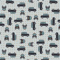 City Nights Black Cab Copper Geometric Metallic Rose Gold Car Taxi Cotton Fabric