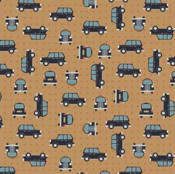 City Nights Black Cab Copper on Copper Geometric Metallic Rose Gold Car Taxi Cotton Fabric