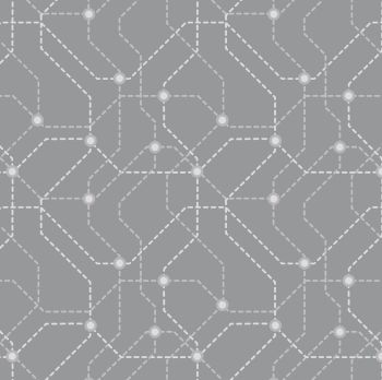 City Nights Underground Silver Geometric Metallic Map Lines Abstract Cotton Fabric