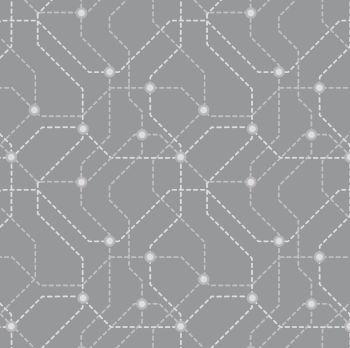 City Nights Underground Silver Geometric Metallic Map Lines Abstract Cotton Fabric
