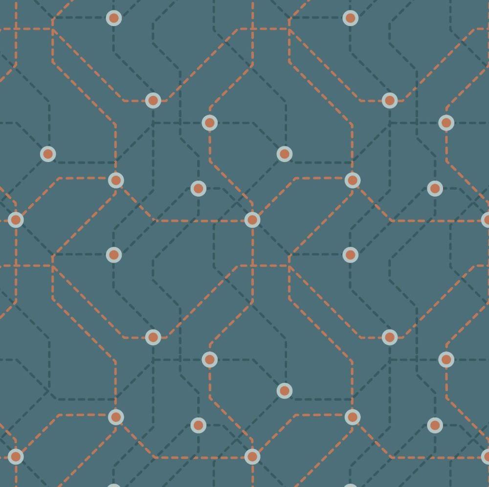 City Nights Underground Copper Blue Geometric Metallic Rose Gold Map Lines