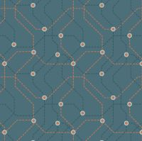 City Nights Underground Copper Blue Geometric Metallic Rose Gold Map Lines Abstract Cotton Fabric