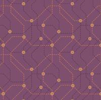 City Nights Underground Copper Maroon Geometric Metallic Rose Gold Purple Map Lines Abstract Cotton Fabric