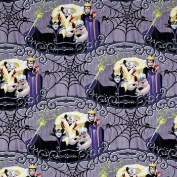 Disney Villains Villain Friends Malificent Evil Queen Ursula Cruella de Vil Cotton Fabric