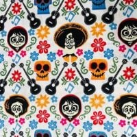 Disney Coco Guitars Toss White Day of the Dead Skulls Cotton Fabric