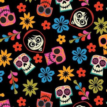 Disney Coco Skull Toss Black Day of the Dead Skulls Cotton Fabric