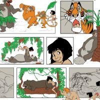 Disney Classics Jungle Book Main Character Blocks Baloo Mowgli Shere Khan Bagheera Cotton Fabric