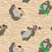 Disney Classics Jungle Book Born to Boogie Tan Baloo Mowgli Animal Print Cotton Fabric