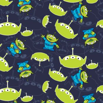 Toy Story Disney Pixar Alien Little Green Men on Blue Aliens Cotton Fabric