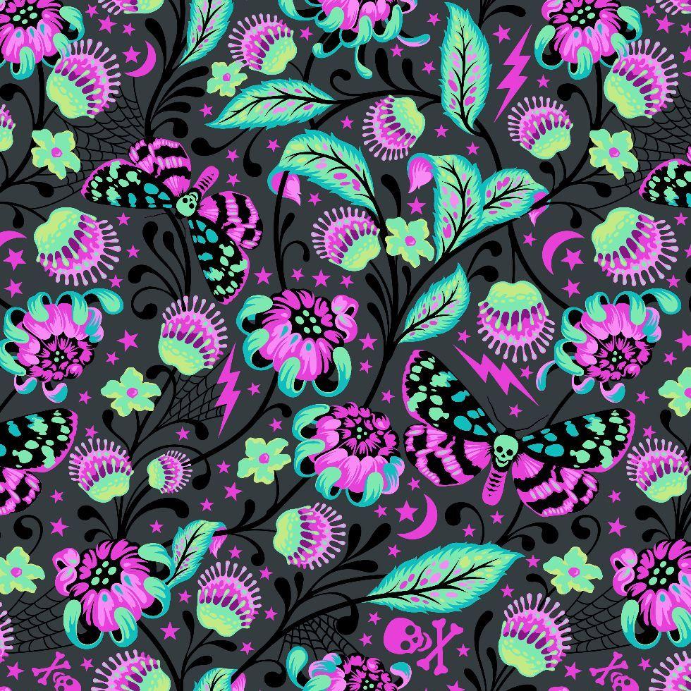 Venus in Spirit Tula Pink De La Luna Skull Botanical Floral Butterfly Cotto