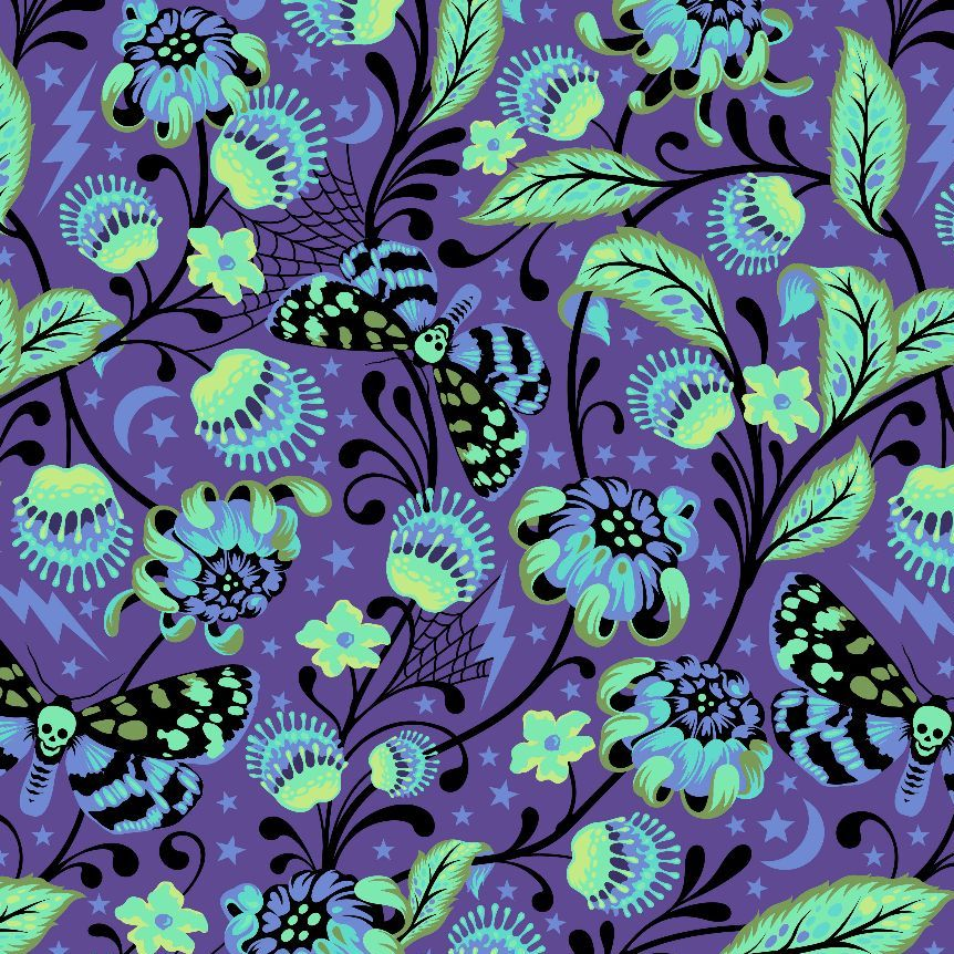 Venus in Haunted Tula Pink De La Luna Skull Botanical Floral Butterfly Cott